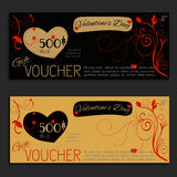 Gift voucher vector coupon Valentine's Day. Template present Royalty Free Stock Photo