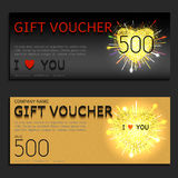 Gift voucher vector coupon Valentines Day heart Royalty Free Stock Photo