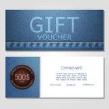 Gift voucher. Vector, illustration. Card template. Template gift voucher at a discount.. Vector, illustration. Card template. Blue jeans Stock Photos