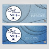 Gift voucher. Vector, illustration. Card template. Template gift voucher at a discount.. Vector, illustration. Card template. Blue jeans Royalty Free Stock Image
