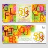 Gift voucher vector illustration coupon template for company. Corporate style present. Easy to use and edit.  Layout template. Corporate card. Discount coupons Stock Photography