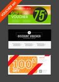 Gift voucher vector set. Sale voucher vector illustration. Store Stock Image