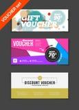 Gift voucher vector set. Sale voucher vector illustration. Store Stock Images