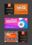 Gift voucher vector set. Sale voucher vector illustration. Store Stock Photos