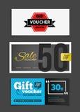 Gift voucher vector set. Sale voucher vector illustration. Store Stock Photography