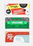 Gift voucher vector set. Sale voucher vector illustration. Store Royalty Free Stock Photos