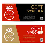 Gift voucher vector Valentine's Day,  diamond ring illustration Royalty Free Stock Image