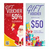 Gift Voucher Vector. Vertical Coupon. Merry Christmas. Happy New Year. Santa Claus And Gifts. Shopping Advertisement royalty free illustration