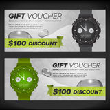 Gift voucher with watches Stock Photo