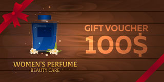 Gift Voucher. Women`s Perfume. Beauty care. Classic bottle of perfume. Liquid luxury fragrance aromatherapy. Vector illustration. Gift Voucher. Women`s Perfume Stock Image