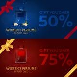 Gift Voucher. Women`s Perfume. Beauty care. Classic bottle of perfume. Liquid luxury fragrance aromatherapy. Vector illustration. Gift Voucher. Women`s Perfume Stock Photography