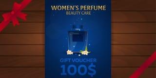 Gift Voucher. Women`s Perfume. Beauty care. Classic bottle of perfume. Liquid luxury fragrance aromatherapy. Vector illustration. Gift Voucher. Women`s Perfume Royalty Free Stock Image
