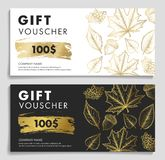 Gift Voucher woth autumn leaves and acron in gold and black and white colors. Modern hand drawn graphic royalty free illustration