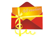 Gift vouchers. Illustration of gift vouchers isolated on white background Royalty Free Stock Images