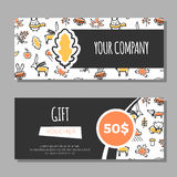 Gift vouchers with autumn illustrations Royalty Free Stock Images