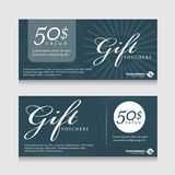 Gift vouchers banner card with text on abstract line texture dark blue tone background vector design royalty free illustration