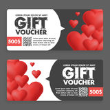 Gift vouchers with colored hearts. Great for Valentine s Day sales. Vector gift coupons Stock Image