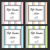 Gift vouchers design template with striped background and gift boxes line icons Royalty Free Stock Photo