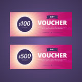 Gift vouchers with 100 and 500 dollars value. Royalty Free Stock Images