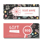 Gift vouchers with floral background Stock Photo