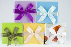 Gift vouchers presents boxes Stock Photo
