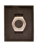 Gift Watch. Hand Watch in a box used as a gift or a promotion, There is a space above time hands to put a logo if needed Royalty Free Stock Images