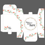 Gift wedding favor box template with nature pattern Stock Photography