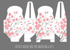 Gift wedding favor box template with nature pattern. Abstract vector floral pattern sakura cherry blossom stock illustration