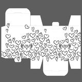 Gift wedding favor die box design template with heart pattern Royalty Free Stock Photography
