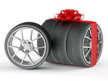 Gift wheels. Wheels as gift concept isolated on white Stock Images