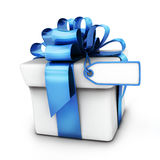 Gift white and blue ribbon Royalty Free Stock Images