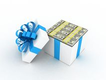Gift white box and dollars. 3D images Stock Photos