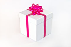Gift white Box with pink Ribbon and Bow Stock Photos