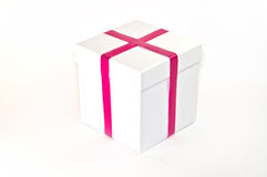 Gift white Box with pink Ribbon Royalty Free Stock Photography