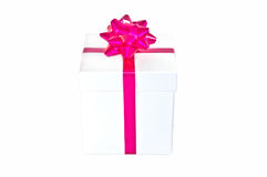 Gift white Box with pink Ribbon and pink Bow Stock Photography