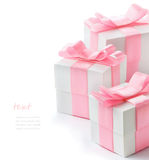 Gift white box with pink satin ribbon Royalty Free Stock Image