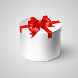 Gift white box with a red bow Royalty Free Stock Images