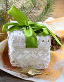 Gift white box with  ribbon Royalty Free Stock Photography