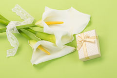Gift and white lilly flowers on green Stock Photos