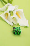 Gift and white lilly flowers on green Stock Photography