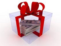Gift on white with money Royalty Free Stock Photography
