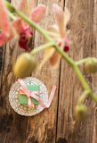 A gift on a white napkin. Andorchidea on the wooden background Royalty Free Stock Photo
