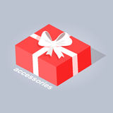 Gift with White Ribbon and Bow Flat Design Vector. Accessory red gift with white ribbon and bow flat web banner  on gray. Present in a rectangular box with text Royalty Free Stock Photography