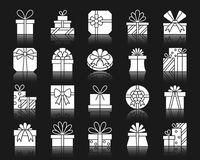 Gift White Silhouette Icons Vector Set Royalty Free Stock Photo