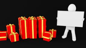 Gift whiteboard man Stock Photography