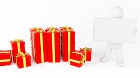 Gift whiteboard man Stock Image