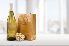 Gift. Wine Bottle Birthday Champagne Wrapping Paper Humor Stock Images
