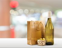 Gift. Wine bottle birthday champagne wrapping paper humor Stock Photo