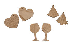 Gift wine bottles labels. Different shape of empty wooden labels for different kind of celebrations Royalty Free Stock Photography