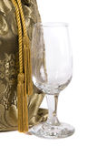Gift of Wine with Wineglass Royalty Free Stock Photos